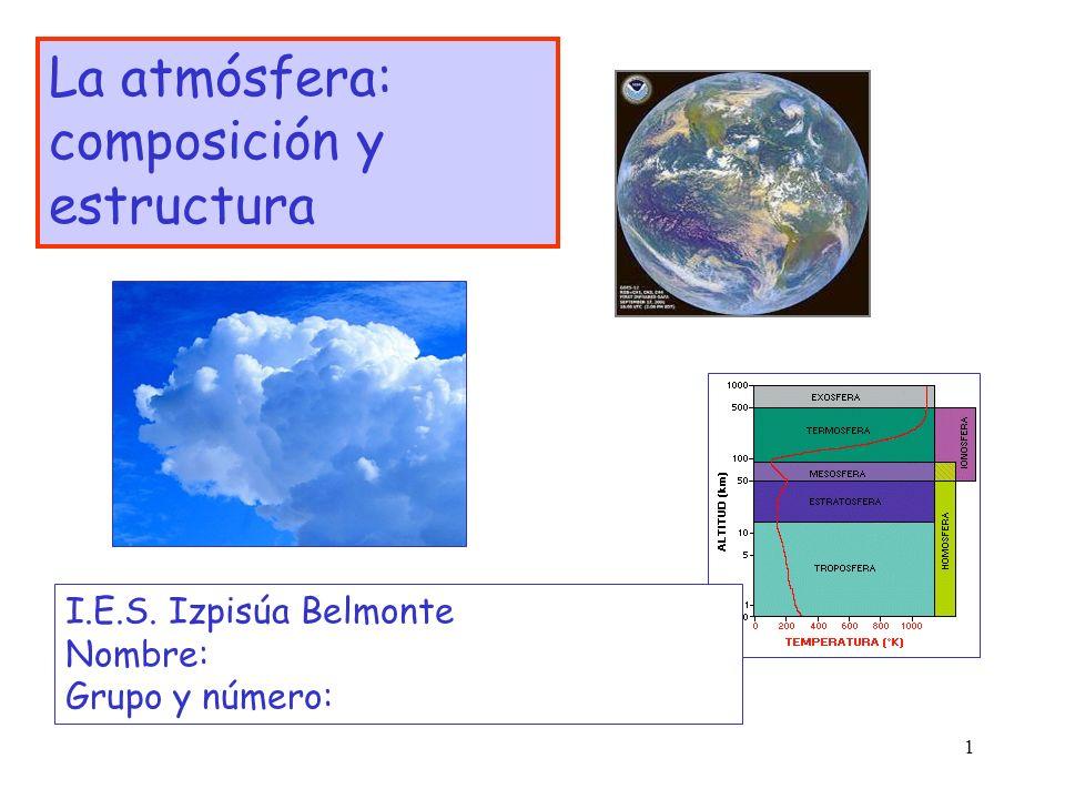 1 La atmósfera: composición y estructura I.E.S. Izpisúa Belmonte Nombre: Grupo y número: