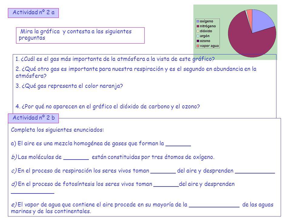 4 Actividad nº 2 a Mira la gráfica y contesta a las siguientes preguntas 1. ¿Cuál es el gas más importante de la atmósfera a la vista de este gráfico?