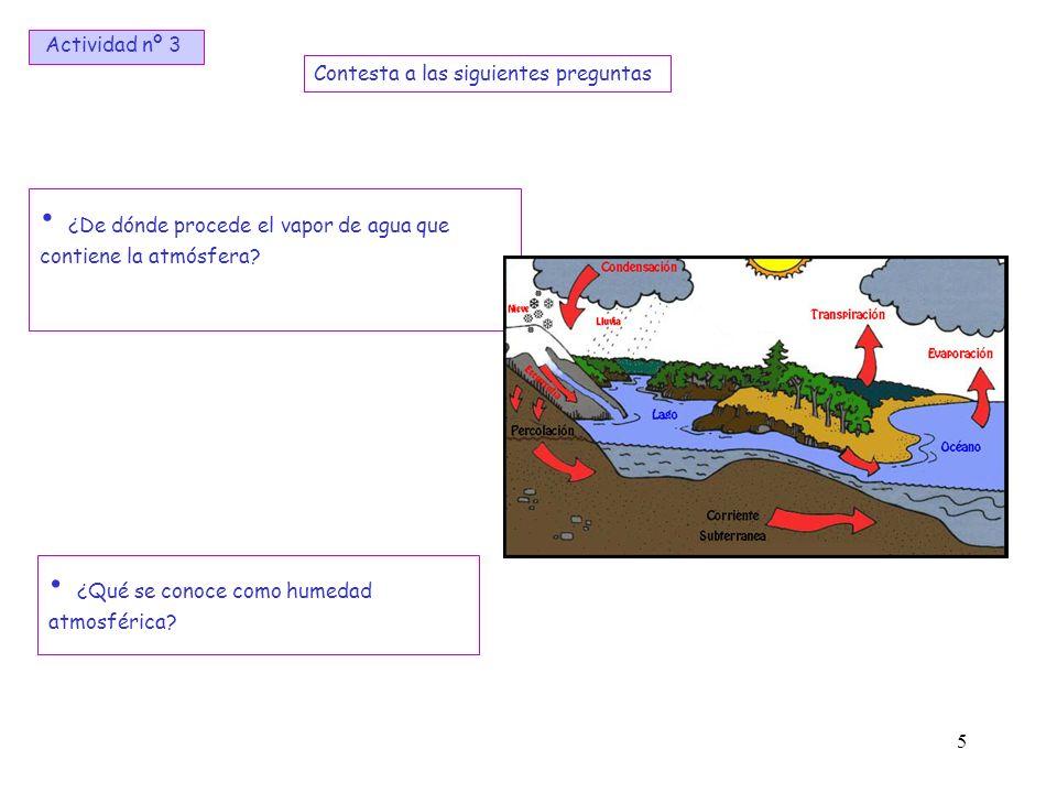 5 ¿De dónde procede el vapor de agua que contiene la atmósfera? ¿Qué se conoce como humedad atmosférica? Contesta a las siguientes preguntas Actividad