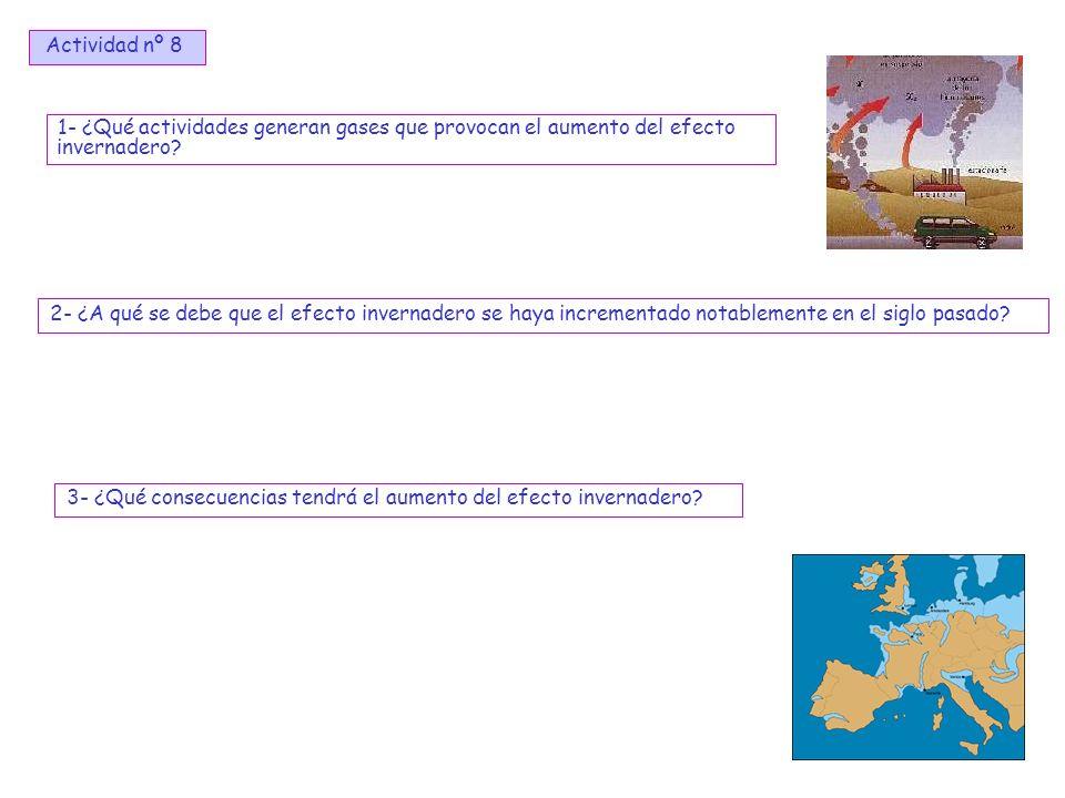 12 1- ¿Qué actividades generan gases que provocan el aumento del efecto invernadero? 2- ¿A qué se debe que el efecto invernadero se haya incrementado
