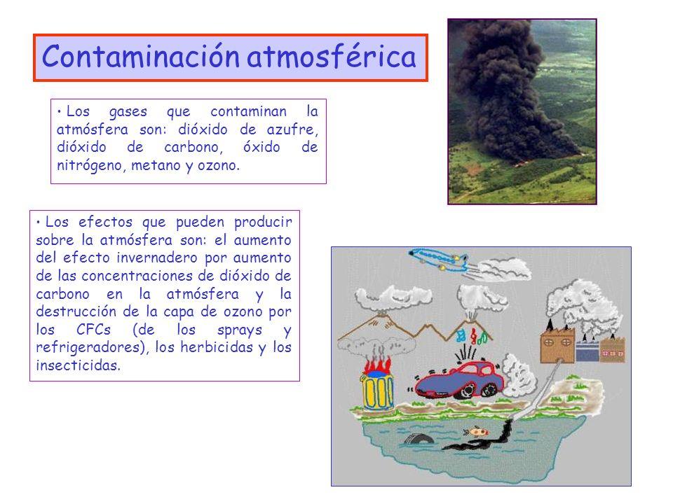 3 Contaminación atmosférica Los gases que contaminan la atmósfera son: dióxido de azufre, dióxido de carbono, óxido de nitrógeno, metano y ozono. Los