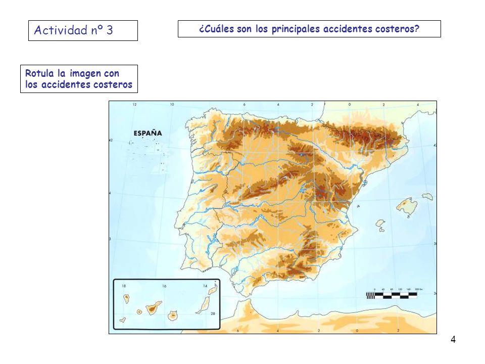 Rotula la imagen con los accidentes costeros Actividad nº 3 ¿Cuáles son los principales accidentes costeros? 4