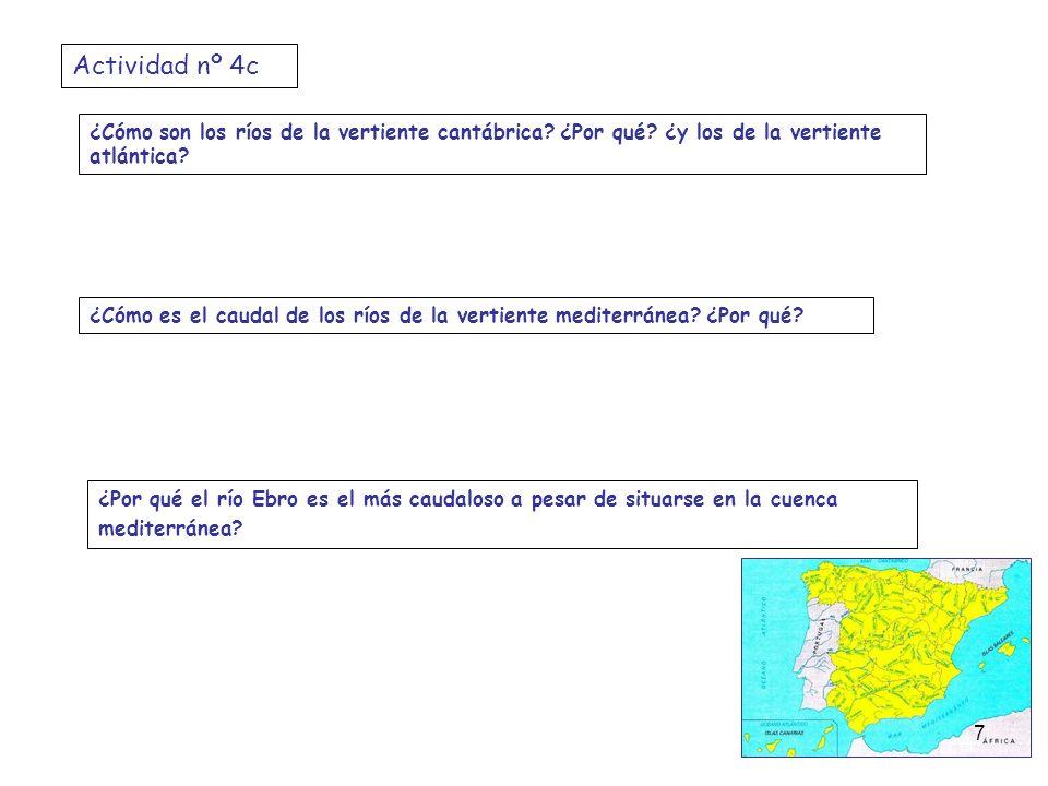 ¿Cómo son los ríos de la vertiente cantábrica? ¿Por qué? ¿y los de la vertiente atlántica? ¿Cómo es el caudal de los ríos de la vertiente mediterránea
