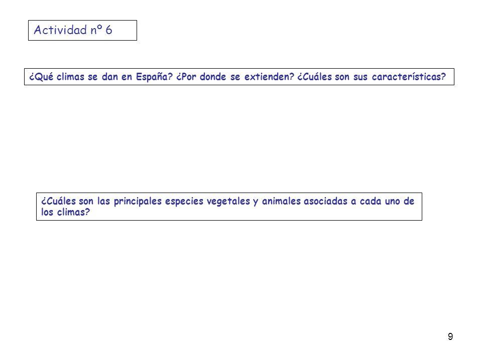 ¿Qué climas se dan en España? ¿Por donde se extienden? ¿Cuáles son sus características? ¿Cuáles son las principales especies vegetales y animales asoc