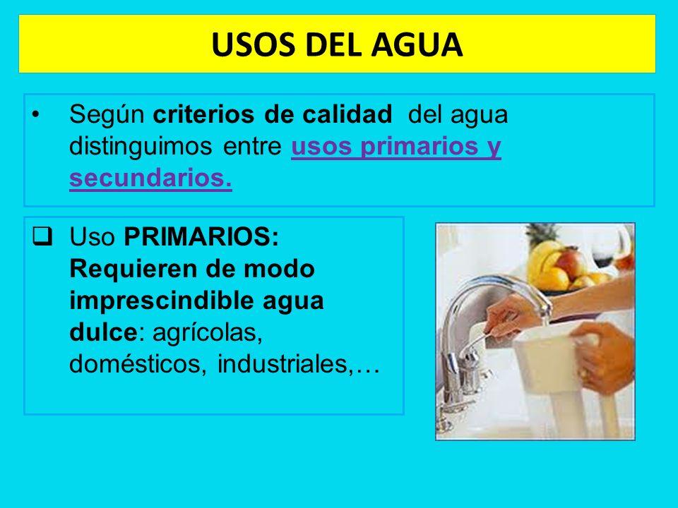 Según criterios de calidad del agua distinguimos entre usos primarios y secundarios. Uso PRIMARIOS: Requieren de modo imprescindible agua dulce: agríc