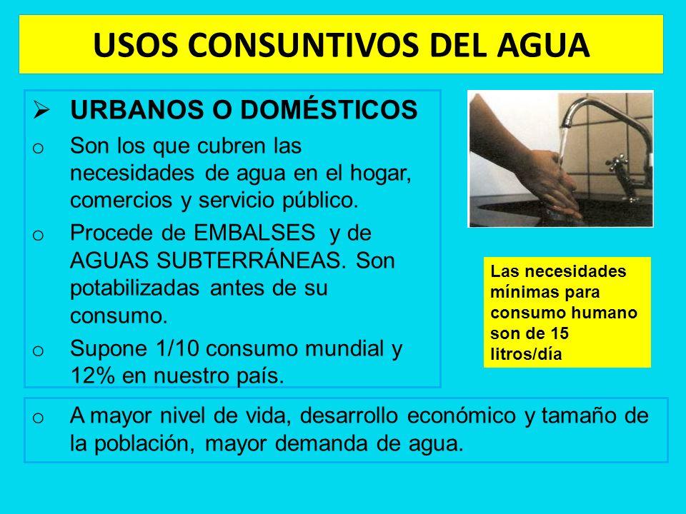 USOS CONSUNTIVOS DEL AGUA URBANOS O DOMÉSTICOS o Son los que cubren las necesidades de agua en el hogar, comercios y servicio público. o Procede de EM