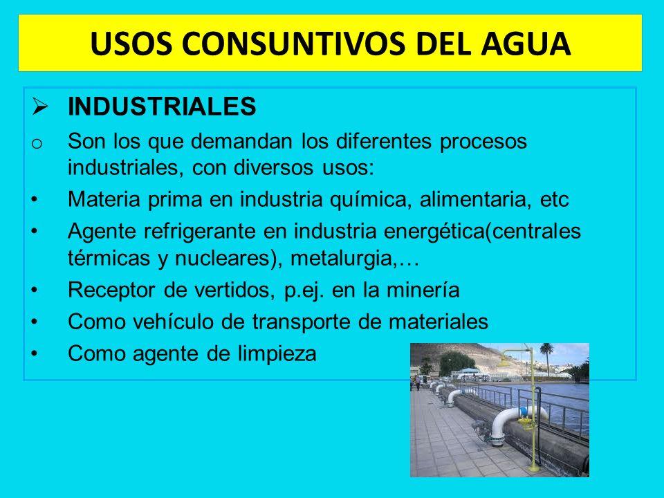 USOS CONSUNTIVOS DEL AGUA INDUSTRIALES o Son los que demandan los diferentes procesos industriales, con diversos usos: Materia prima en industria quím