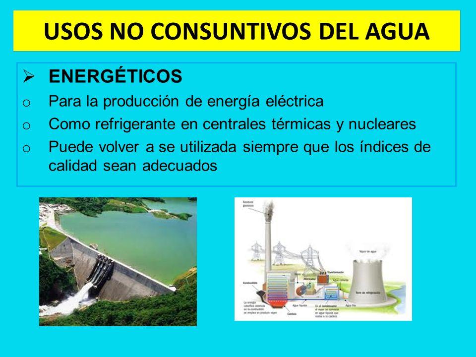 USOS NO CONSUNTIVOS DEL AGUA ENERGÉTICOS o Para la producción de energía eléctrica o Como refrigerante en centrales térmicas y nucleares o Puede volve
