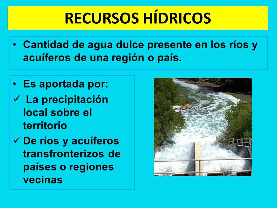 RECURSOS HÍDRICOS Cantidad de agua dulce presente en los ríos y acuíferos de una región o país. Es aportada por: La precipitación local sobre el terri