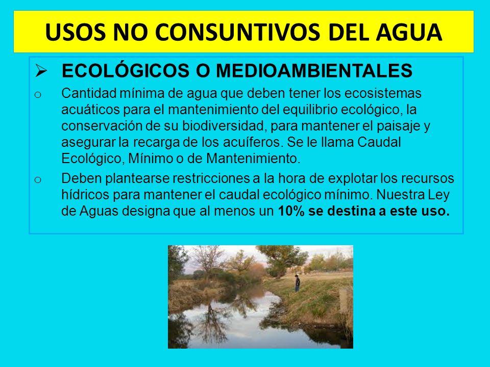 USOS NO CONSUNTIVOS DEL AGUA ECOLÓGICOS O MEDIOAMBIENTALES o Cantidad mínima de agua que deben tener los ecosistemas acuáticos para el mantenimiento d