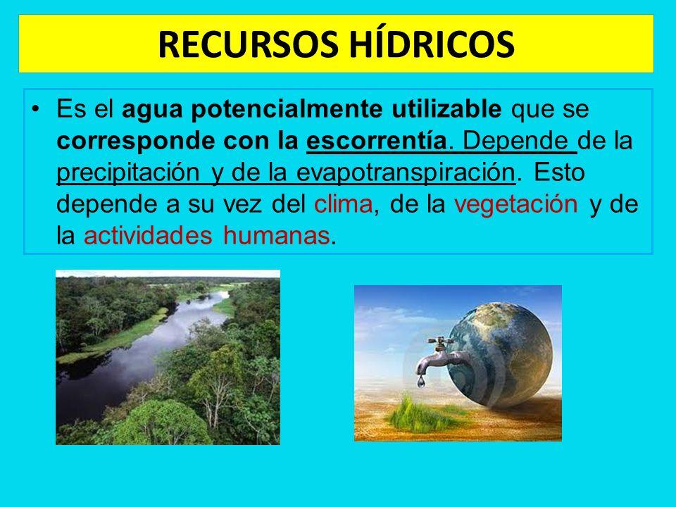 RECURSOS HÍDRICOS Es el agua potencialmente utilizable que se corresponde con la escorrentía. Depende de la precipitación y de la evapotranspiración.