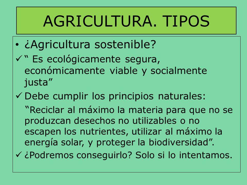 AGRICULTURA. TIPOS ¿Agricultura sostenible? Es ecológicamente segura, económicamente viable y socialmente justa Debe cumplir los principios naturales: