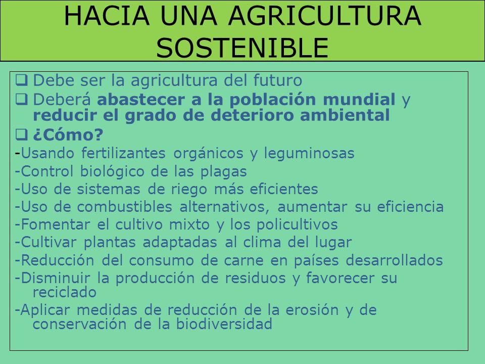 HACIA UNA AGRICULTURA SOSTENIBLE Debe ser la agricultura del futuro Deberá abastecer a la población mundial y reducir el grado de deterioro ambiental