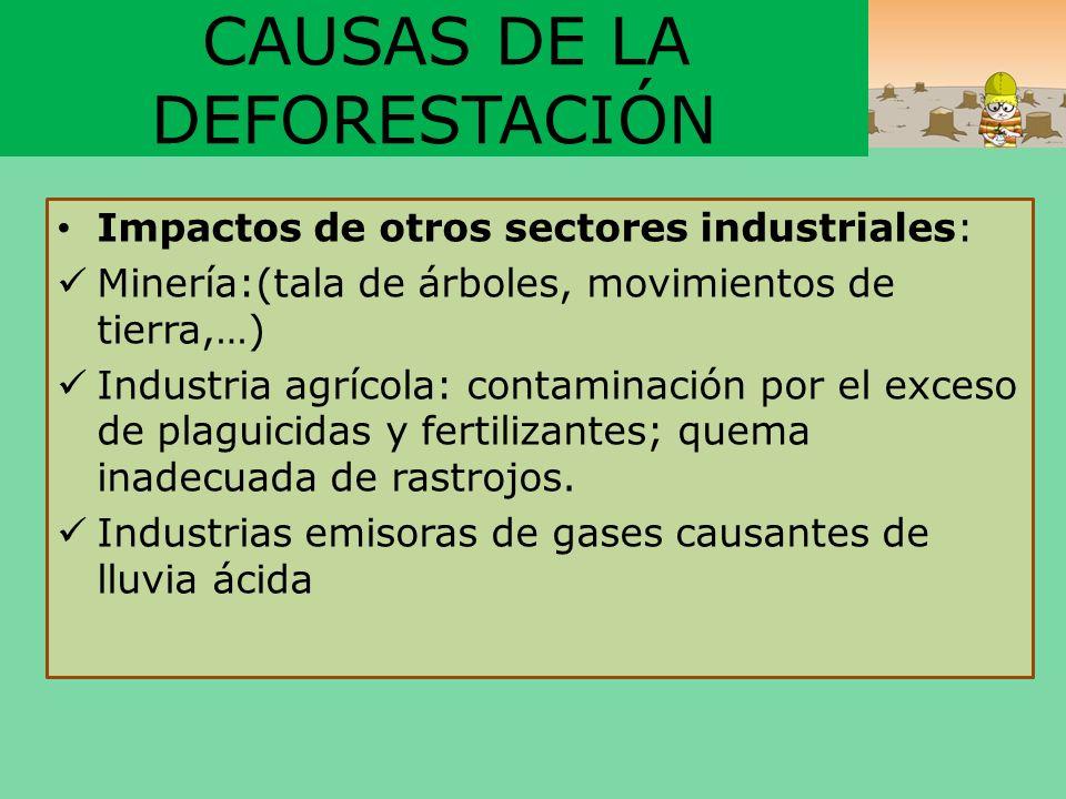 CAUSAS DE LA DEFORESTACIÓN Impactos de otros sectores industriales: Minería:(tala de árboles, movimientos de tierra,…) Industria agrícola: contaminaci