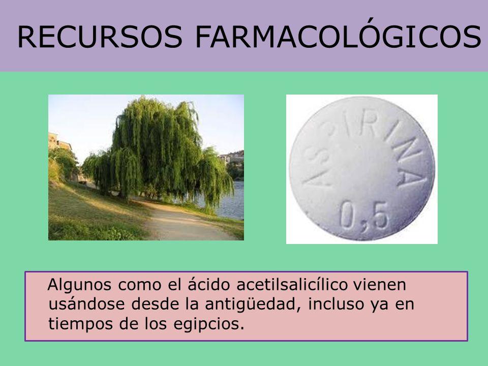 RECURSOS FARMACOLÓGICOS Algunos como el ácido acetilsalicílico vienen usándose desde la antigüedad, incluso ya en tiempos de los egipcios.