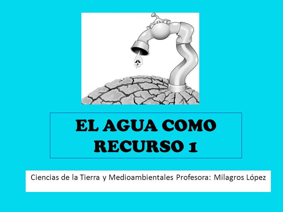 EL AGUA COMO RECURSO 1 Ciencias de la Tierra y Medioambientales Profesora: Milagros López