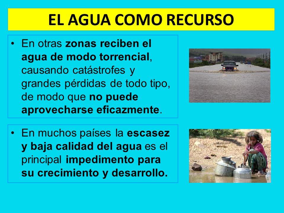 EL AGUA COMO RECURSO En otras zonas reciben el agua de modo torrencial, causando catástrofes y grandes pérdidas de todo tipo, de modo que no puede apr