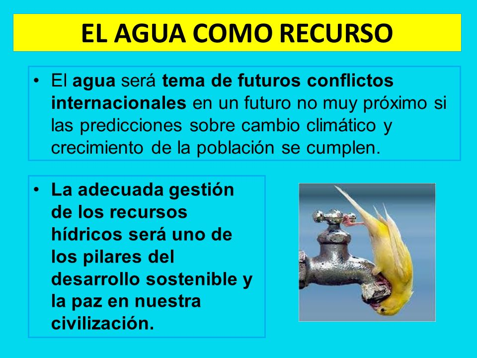 EL AGUA COMO RECURSO El agua será tema de futuros conflictos internacionales en un futuro no muy próximo si las predicciones sobre cambio climático y
