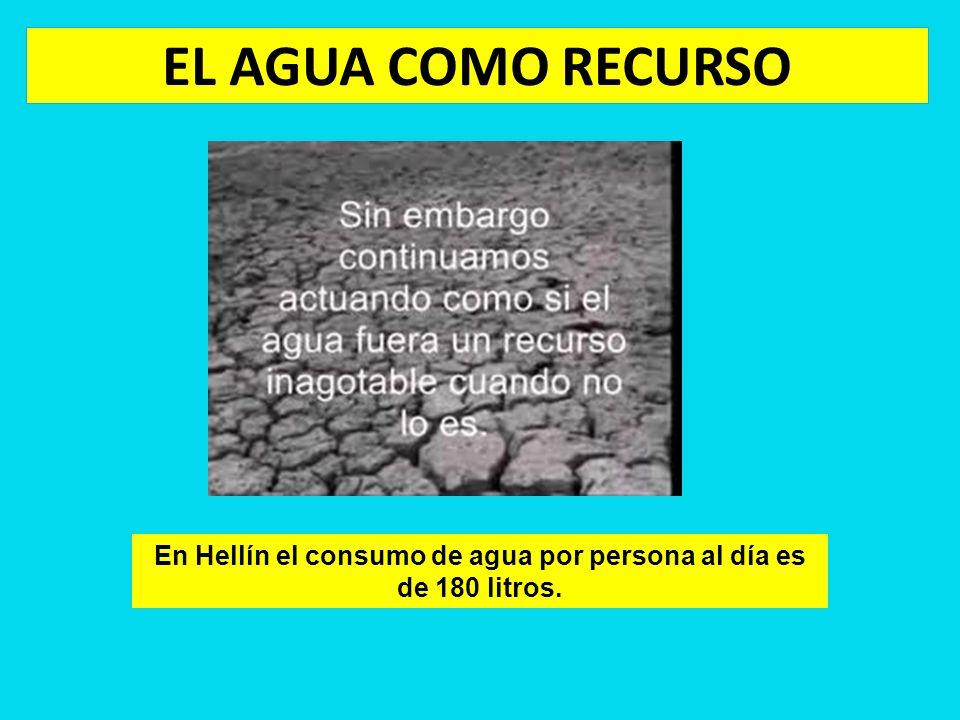 EL AGUA COMO RECURSO En Hellín el consumo de agua por persona al día es de 180 litros.