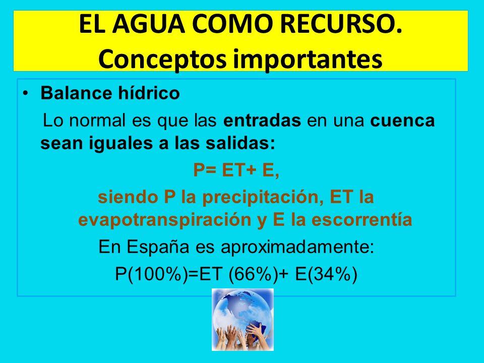 EL AGUA COMO RECURSO. Conceptos importantes Balance hídrico Lo normal es que las entradas en una cuenca sean iguales a las salidas: P= ET+ E, siendo P