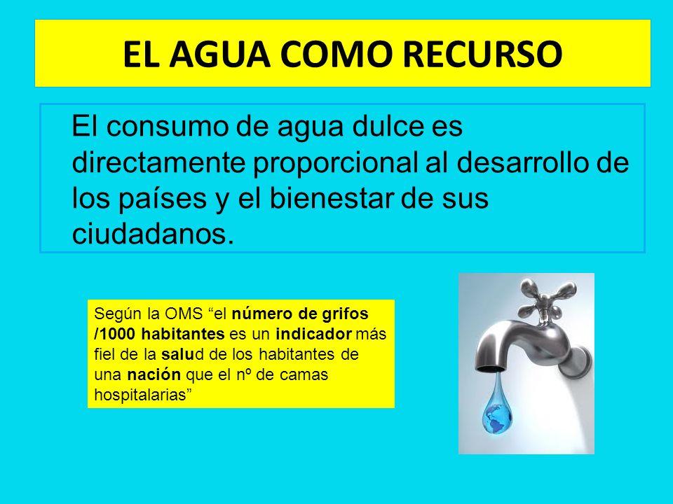 EL AGUA COMO RECURSO El consumo de agua dulce es directamente proporcional al desarrollo de los países y el bienestar de sus ciudadanos. Según la OMS