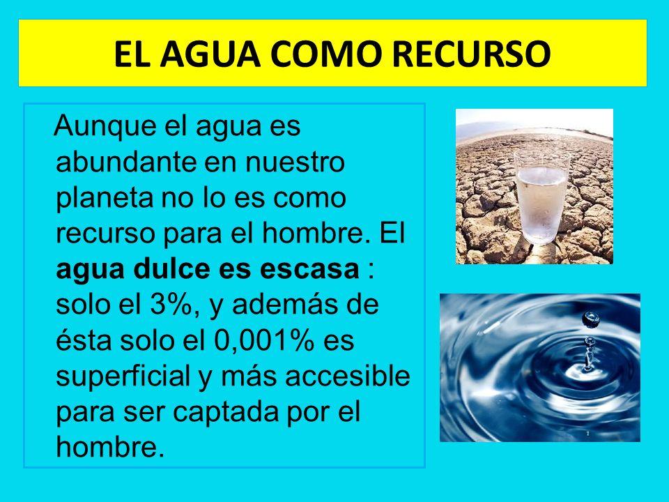 EL AGUA COMO RECURSO Aunque el agua es abundante en nuestro planeta no lo es como recurso para el hombre. El agua dulce es escasa : solo el 3%, y adem