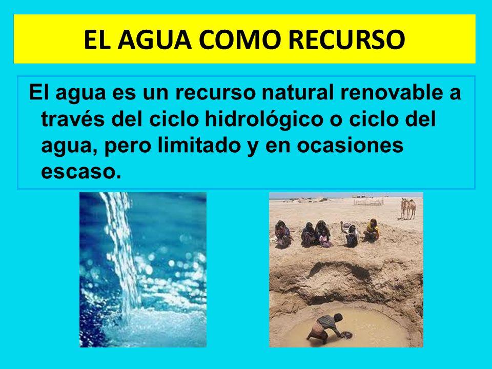 EL AGUA COMO RECURSO El agua es un recurso natural renovable a través del ciclo hidrológico o ciclo del agua, pero limitado y en ocasiones escaso.