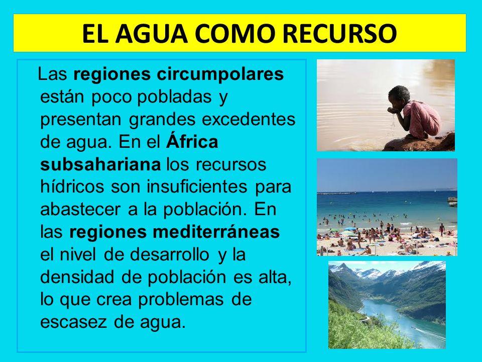 EL AGUA COMO RECURSO Las regiones circumpolares están poco pobladas y presentan grandes excedentes de agua. En el África subsahariana los recursos híd
