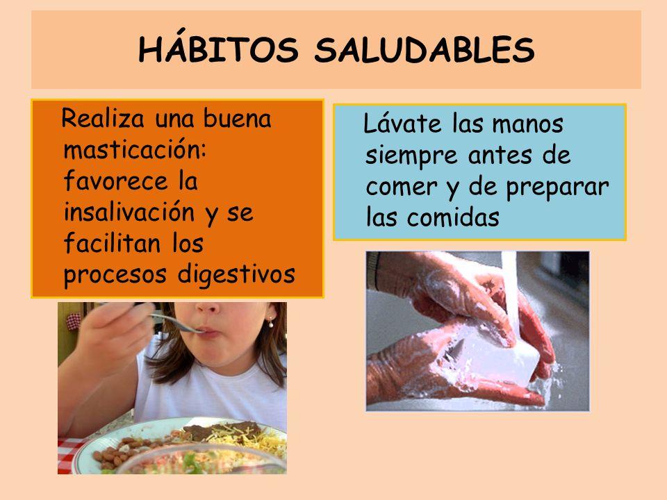 Realiza una buena masticación: favorece la insalivación y se facilitan los procesos digestivos HÁBITOS SALUDABLES Lávate las manos siempre antes de co