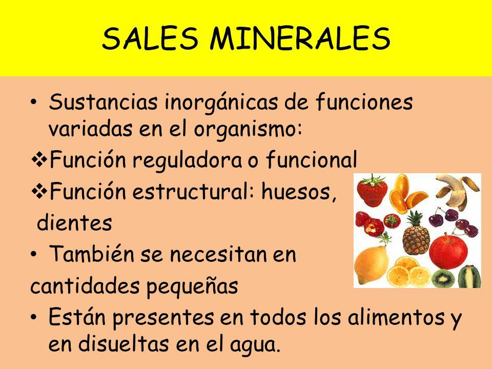 SALES MINERALES Sustancias inorgánicas de funciones variadas en el organismo: Función reguladora o funcional Función estructural: huesos, dientes Tamb