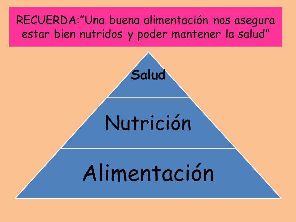 RECUERDA:Una buena alimentación nos asegura estar bien nutridos y poder mantener la salud Salud Nutrición Alimentación