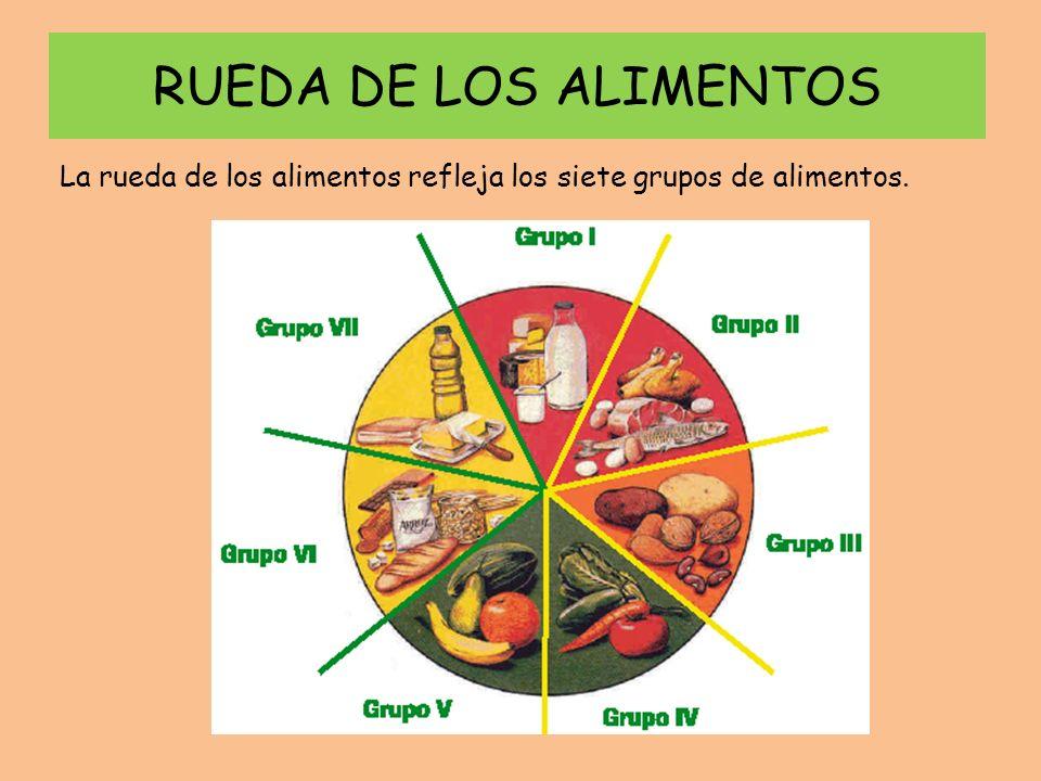RUEDA DE LOS ALIMENTOS La rueda de los alimentos refleja los siete grupos de alimentos.