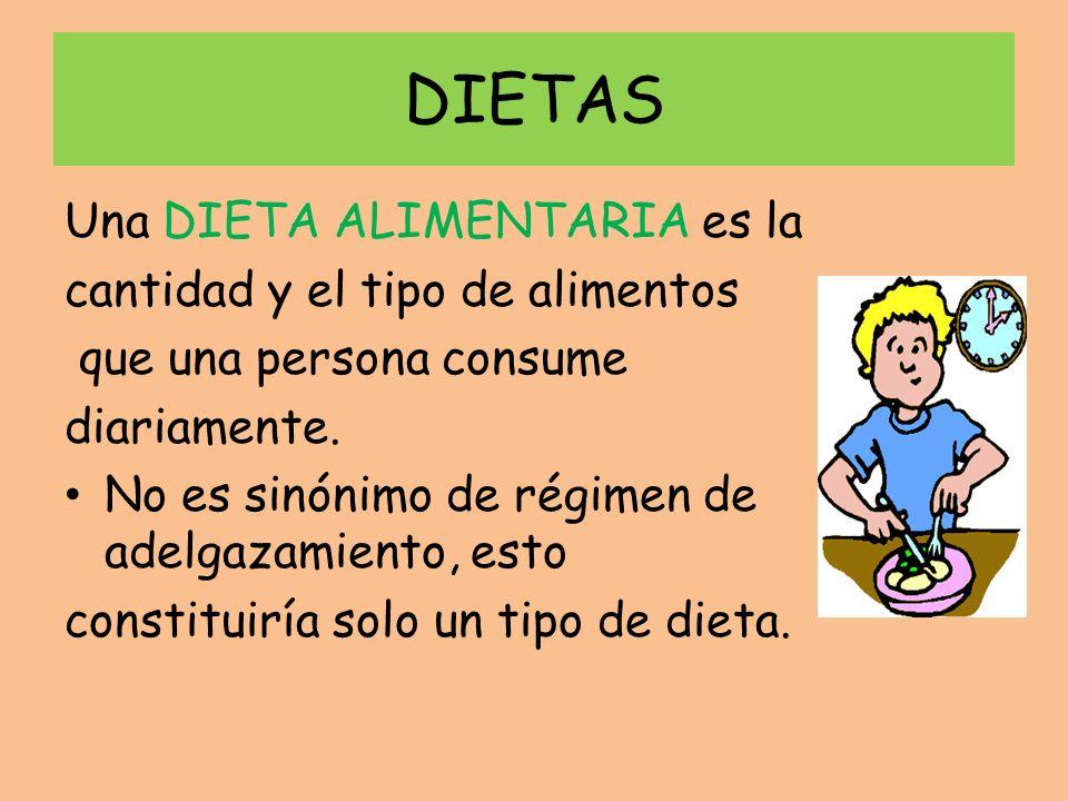 DIETAS Una DIETA ALIMENTARIA es la cantidad y el tipo de alimentos que una persona consume diariamente. No es sinónimo de régimen de adelgazamiento, e