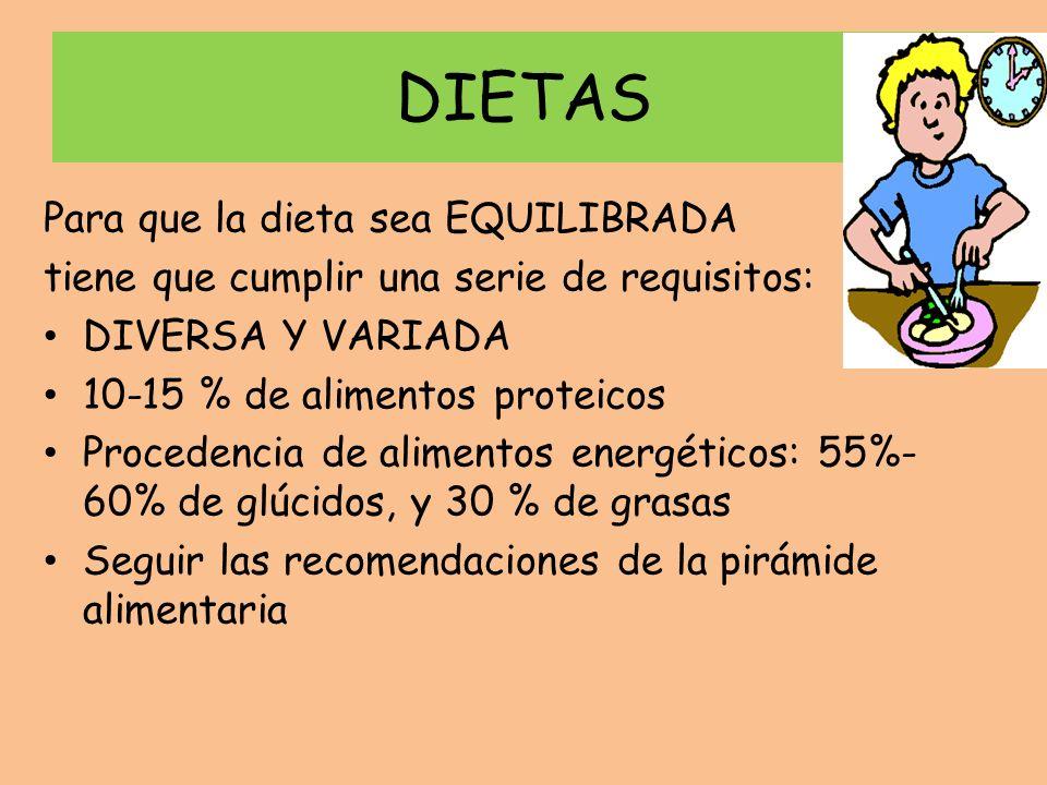 DIETAS Para que la dieta sea EQUILIBRADA tiene que cumplir una serie de requisitos: DIVERSA Y VARIADA 10-15 % de alimentos proteicos Procedencia de al