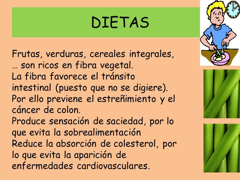 DIETAS Frutas, verduras, cereales integrales, … son ricos en fibra vegetal. La fibra favorece el tránsito intestinal (puesto que no se digiere). Por e