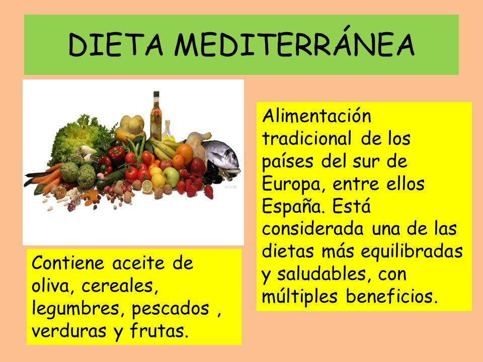 DIETA MEDITERRÁNEA Alimentación tradicional de los países del sur de Europa, entre ellos España. Está considerada una de las dietas más equilibradas y