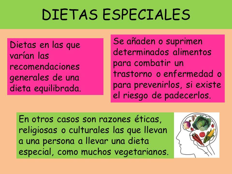 DIETAS ESPECIALES Dietas en las que varían las recomendaciones generales de una dieta equilibrada. Se añaden o suprimen determinados alimentos para co