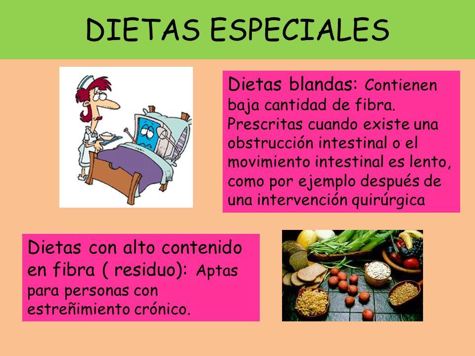 DIETAS ESPECIALES Dietas blandas: Contienen baja cantidad de fibra. Prescritas cuando existe una obstrucción intestinal o el movimiento intestinal es