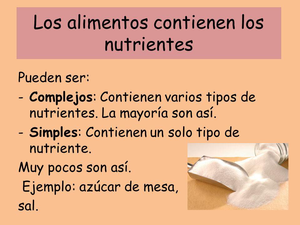 Los alimentos contienen los nutrientes Pueden ser: -Complejos: Contienen varios tipos de nutrientes. La mayoría son así. -Simples: Contienen un solo t