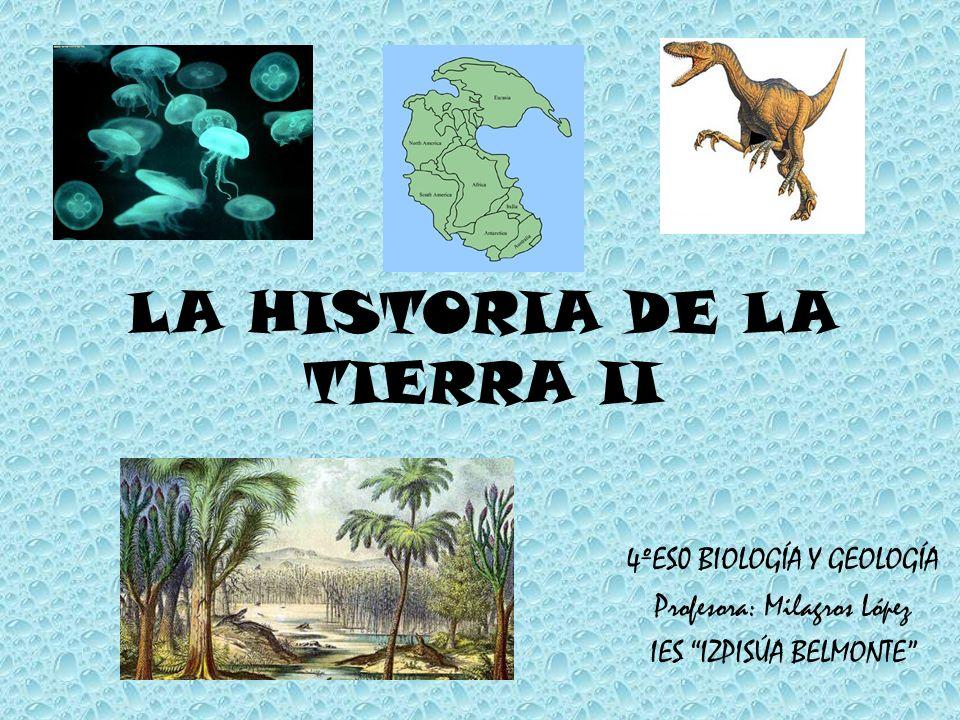 LA HISTORIA DE LA TIERRA II 4ºES0 BIOLOGÍA Y GEOLOGÍA Profesora: Milagros López IES IZPISÚA BELMONTE