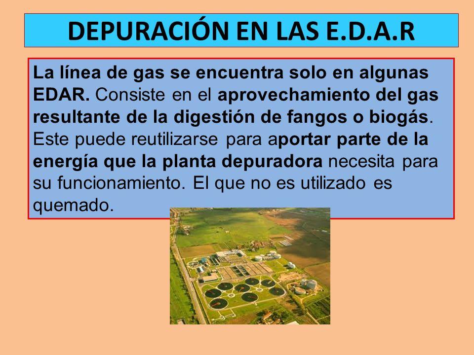 La línea de gas se encuentra solo en algunas EDAR. Consiste en el aprovechamiento del gas resultante de la digestión de fangos o biogás. Este puede re
