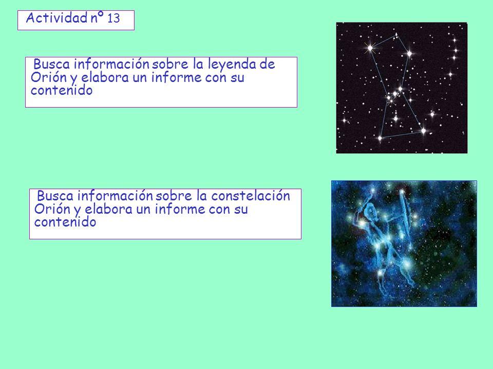 Actividad nº 13 Busca información sobre la leyenda de Orión y elabora un informe con su contenido Busca información sobre la constelación Orión y elab
