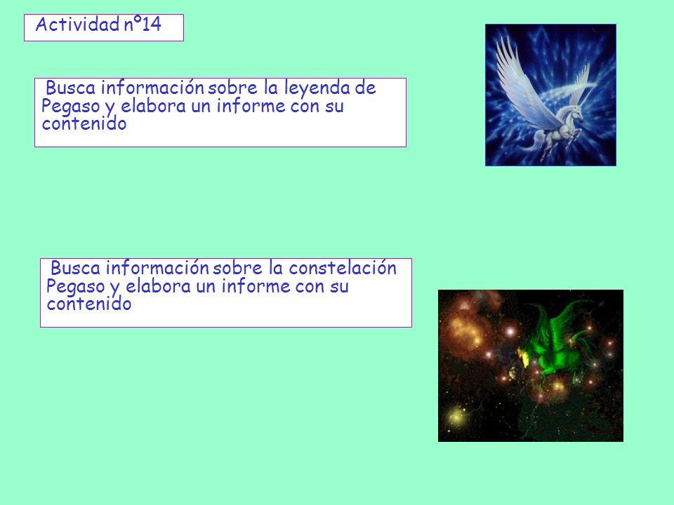 Actividad nº14 Busca información sobre la leyenda de Pegaso y elabora un informe con su contenido Busca información sobre la constelación Pegaso y ela