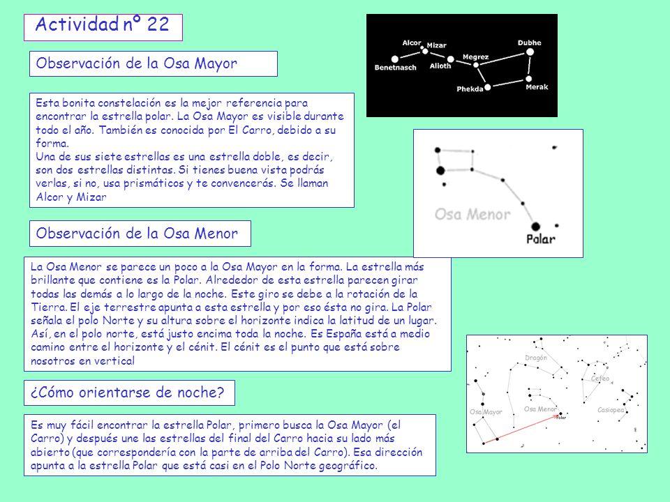 Observación de la Osa Mayor Esta bonita constelación es la mejor referencia para encontrar la estrella polar. La Osa Mayor es visible durante todo el