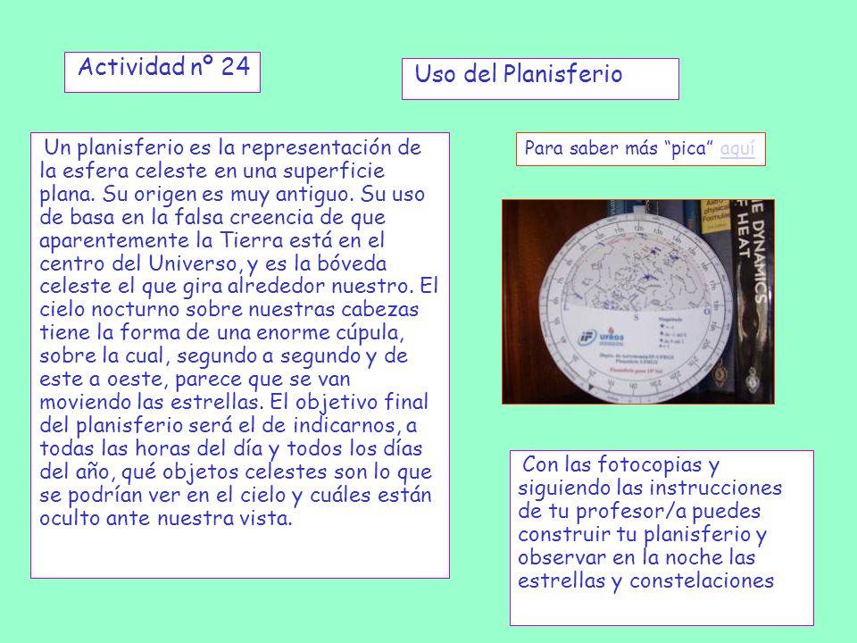 Actividad nº 24 Un planisferio es la representación de la esfera celeste en una superficie plana. Su origen es muy antiguo. Su uso de basa en la falsa
