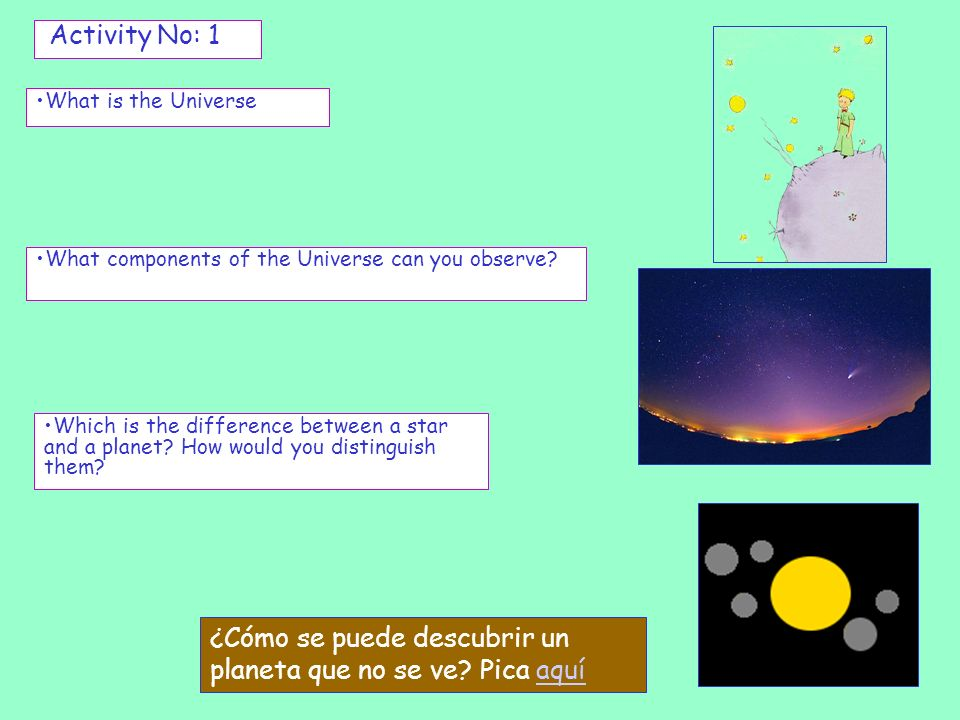 What is the Universe Activity No: 1 What components of the Universe can you observe? Which is the difference between a star and a planet? How would yo