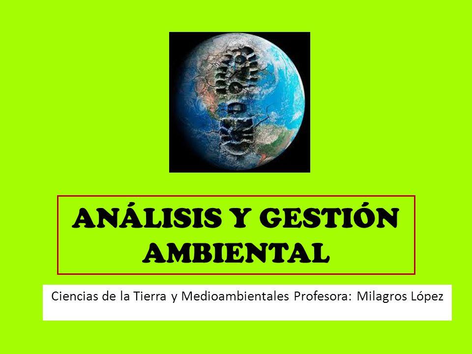 ANÁLISIS Y GESTIÓN AMBIENTAL Ciencias de la Tierra y Medioambientales Profesora: Milagros López