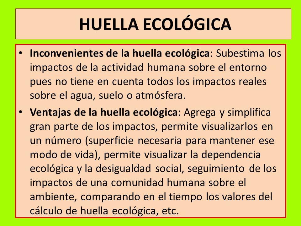 HUELLA ECOLÓGICA Inconvenientes de la huella ecológica: Subestima los impactos de la actividad humana sobre el entorno pues no tiene en cuenta todos l