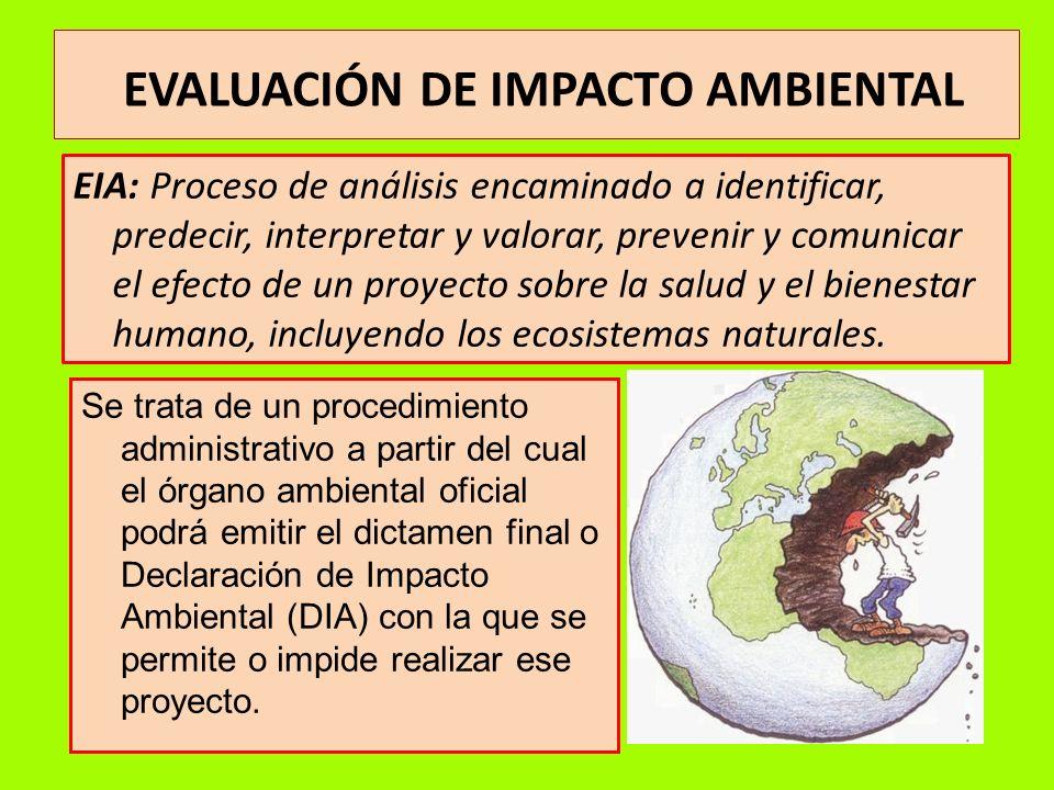 EVALUACIÓN DE IMPACTO AMBIENTAL EIA: Proceso de análisis encaminado a identificar, predecir, interpretar y valorar, prevenir y comunicar el efecto de