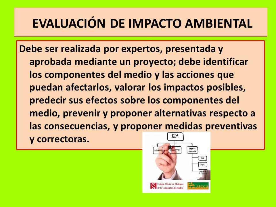 EVALUACIÓN DE IMPACTO AMBIENTAL Debe ser realizada por expertos, presentada y aprobada mediante un proyecto; debe identificar los componentes del medi